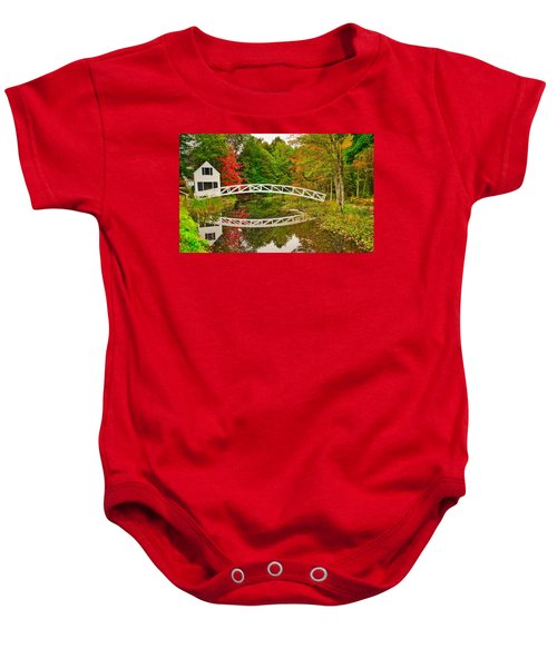 Fall Footbridge Reflection Baby Onesie