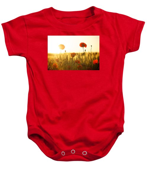 Field Of Poppies At Dawn Baby Onesie
