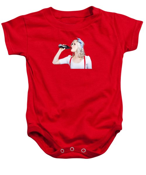 Fifties Pin-up Promo Woman Drinking Soft Drink Baby Onesie