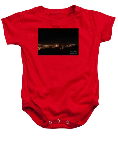 Headframes Outlined In Red Lights Baby Onesie