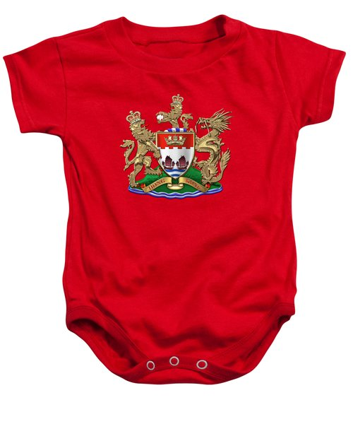 Hong Kong - 1959-1997 Coat Of Arms Over Red Velvet  Baby Onesie
