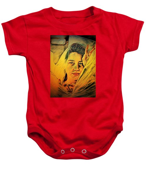 Lady Wrapped In Strings Baby Onesie
