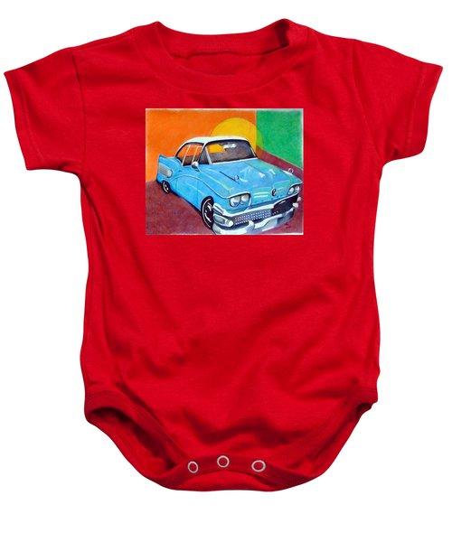 Light Blue 1950s Car  Baby Onesie