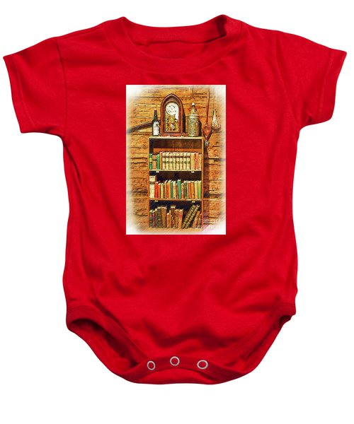 Log Cabin Book Case Sketched Baby Onesie