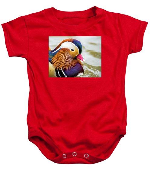 Mandarin Duck Portrait Baby Onesie