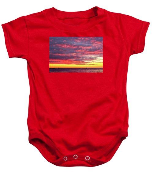 Morning Fire Over Whaleback Light Baby Onesie