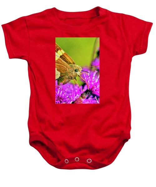 Moth On Purple Flower Baby Onesie