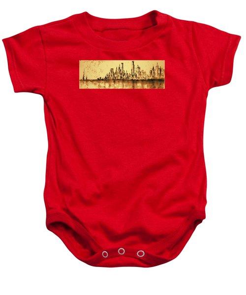 New York City Skyline 79 - Water Color Drawing Baby Onesie