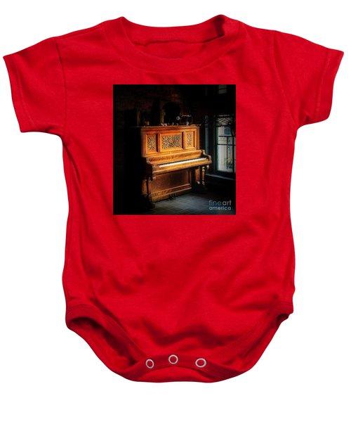 Old Wooden Piano Baby Onesie