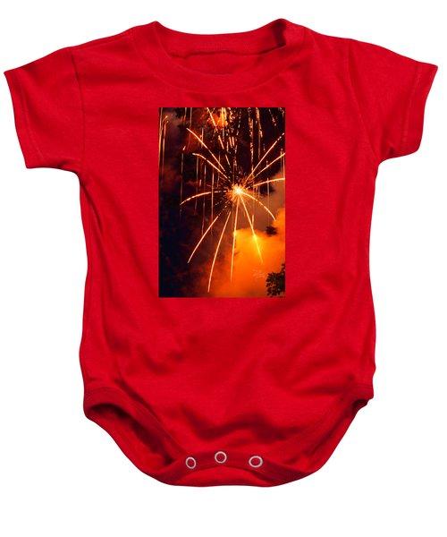 Orange Fireworks Baby Onesie