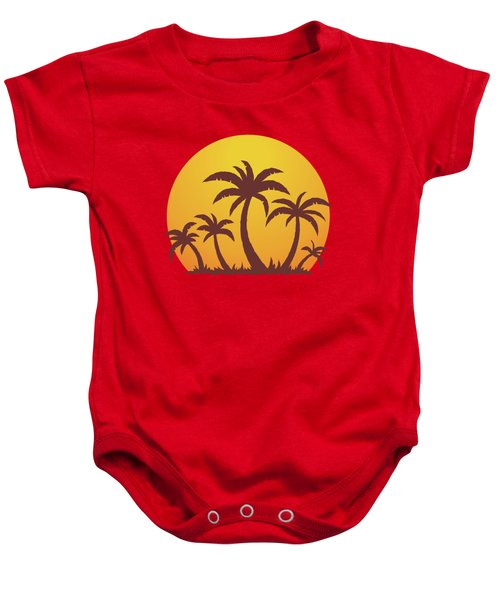 Palm Trees And Sun Baby Onesie