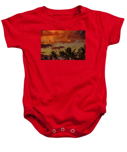 Baby Onesie featuring the photograph Palms Below The Fire Clouds by John Bauer