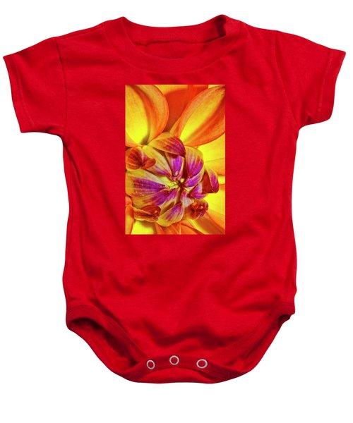 Peach Purple Flower Baby Onesie