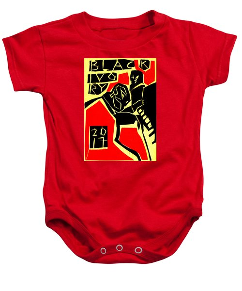 Piano Player Black Ivory Woodcut Poster 31 Baby Onesie