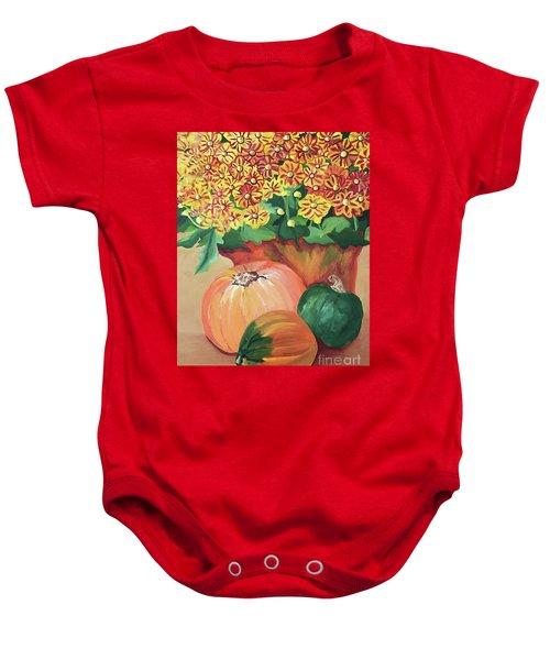 Pumpkin With Flowers Baby Onesie