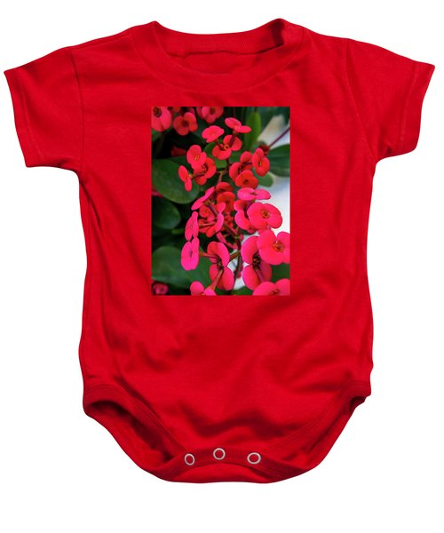 Red Flowers In Bloom Baby Onesie