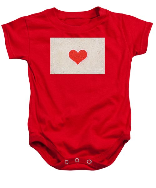 Red Heart Painted On A Wall, Message Of Love. Baby Onesie