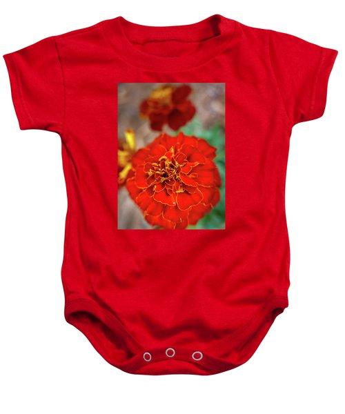 Red Summer Flowers Baby Onesie