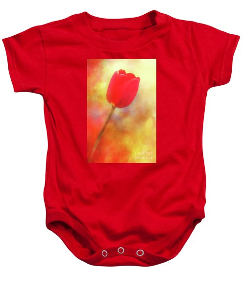 Red Tulip Reaching For The Sun Baby Onesie