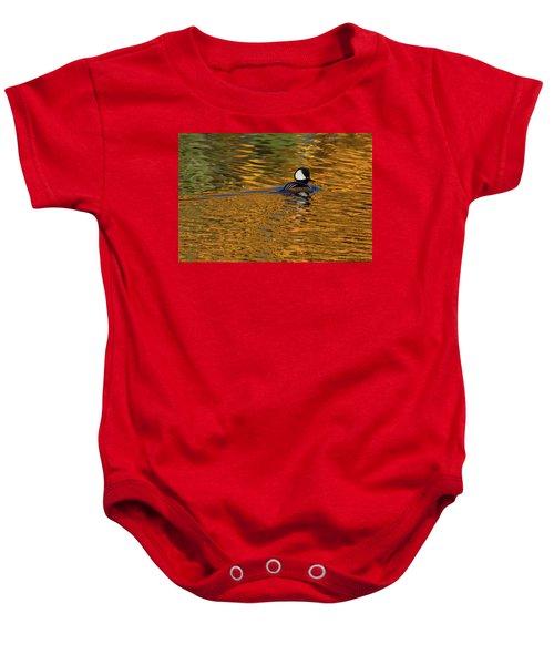 Reflecting With Hooded Merganser Baby Onesie