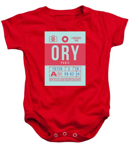 Retro Airline Luggage Tag 2.0 - Ory Paris Orly Airport France Baby Onesie