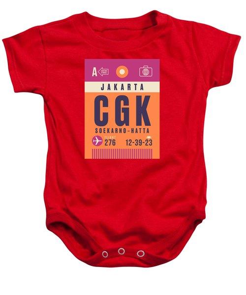 Retro Airline Luggage Tag - Cgk Jakarta Indonesia Baby Onesie