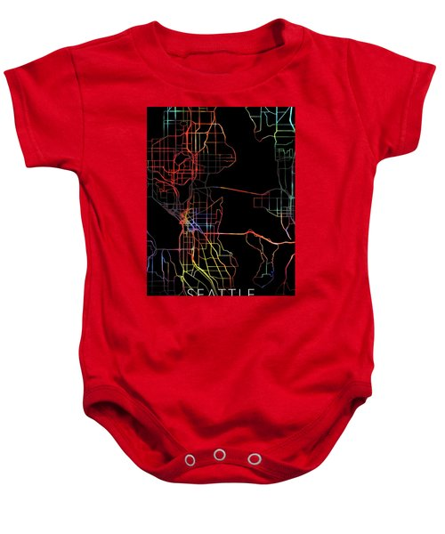 Seattle Washington Watercolor City Street Map Dark Mode Baby Onesie