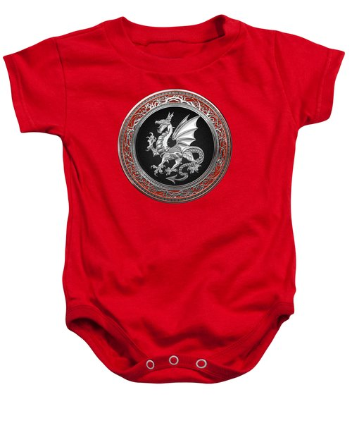 Silver Winged Norse Dragon - Icelandic Viking Landvaettir On Black And Silver Medallion Over Red  Baby Onesie