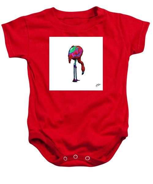 Stooped Over Abstract Flamingo Baby Onesie