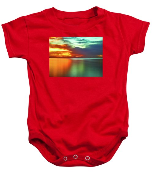 Sunset And Boat Baby Onesie