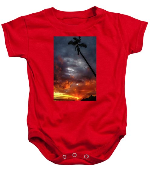 Baby Onesie featuring the photograph Sunset By The Palm by John Bauer
