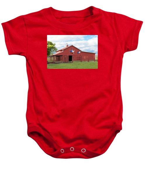 Texas Red Barn Baby Onesie