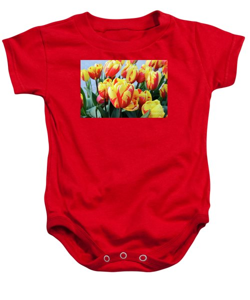 Tulips And Tiger Stripes Baby Onesie