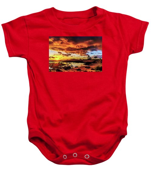 Baby Onesie featuring the photograph Warm And Tranquil Sunset by John Bauer