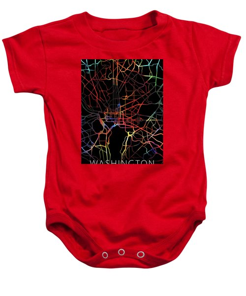 Washington Dc Watercolor City Street Map Dark Mode Baby Onesie