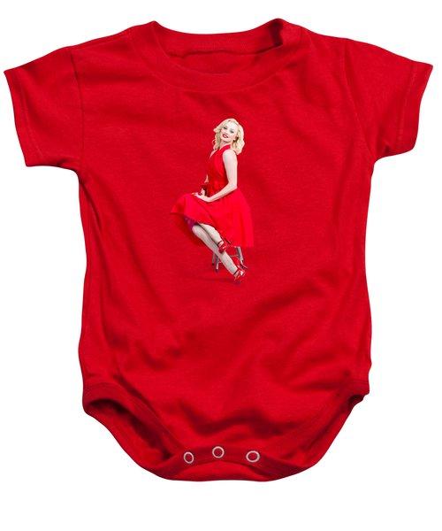 Woman In Romantic Red Dress. Retro Fashion Model  Baby Onesie