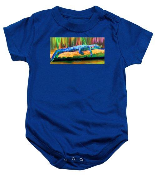 Blue Alligator Baby Onesie