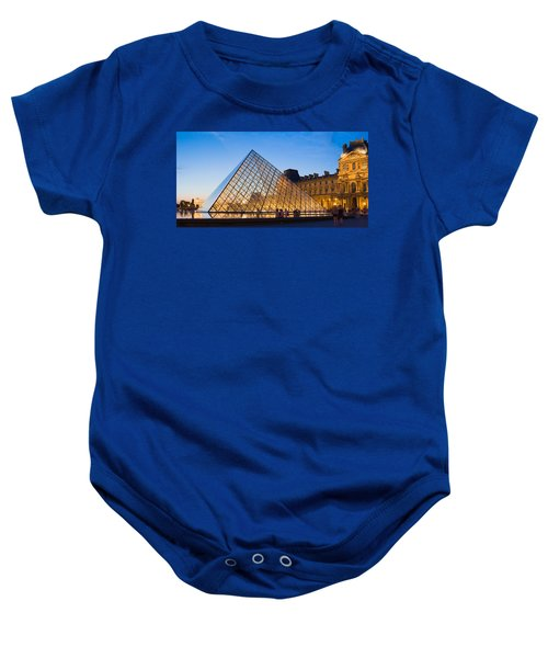 Pyramid In Front Of A Museum, Louvre Baby Onesie by Panoramic Images