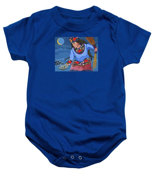 Baby Onesie featuring the painting A Study - Lightening Walker by Chholing Taha