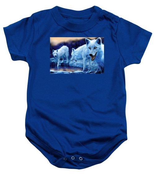 Arctic White Wolves Baby Onesie