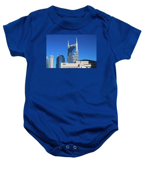 Batman Building And Nashville Skyline Baby Onesie by Dan Sproul