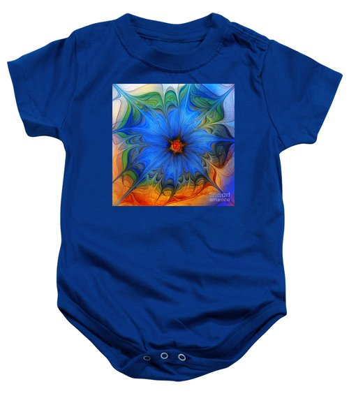 Blue Flower Dressed For Summer Baby Onesie
