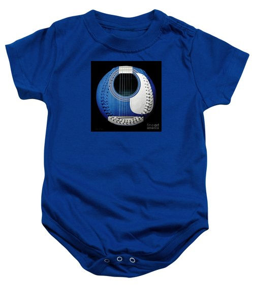 Blue Guitar Baseball White Laces Square Baby Onesie