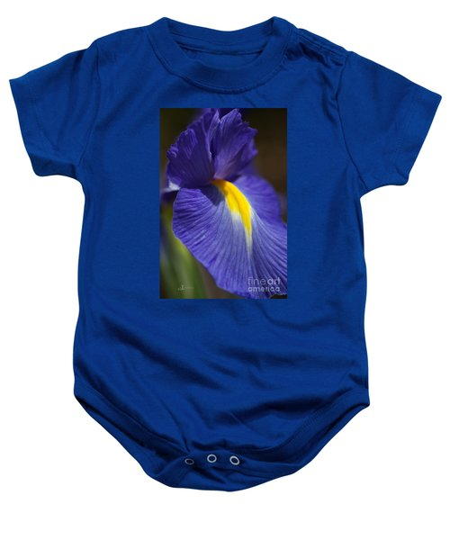 Blue Iris With Yellow Baby Onesie