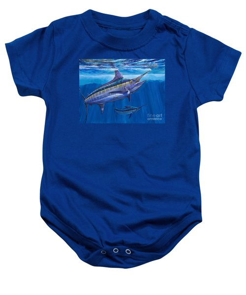 Blue Marlin Bite Off001 Baby Onesie by Carey Chen