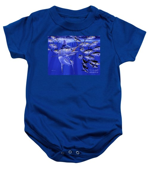 Blue Marlin Round Up Off0031 Baby Onesie by Carey Chen
