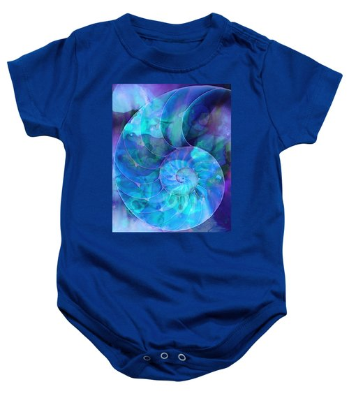 Blue Nautilus Shell By Sharon Cummings Baby Onesie