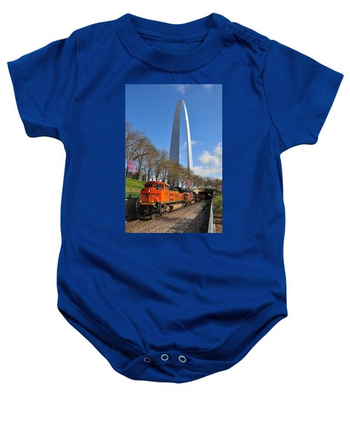 Bnsf Ore Train And St. Louis Gateway Arch Baby Onesie