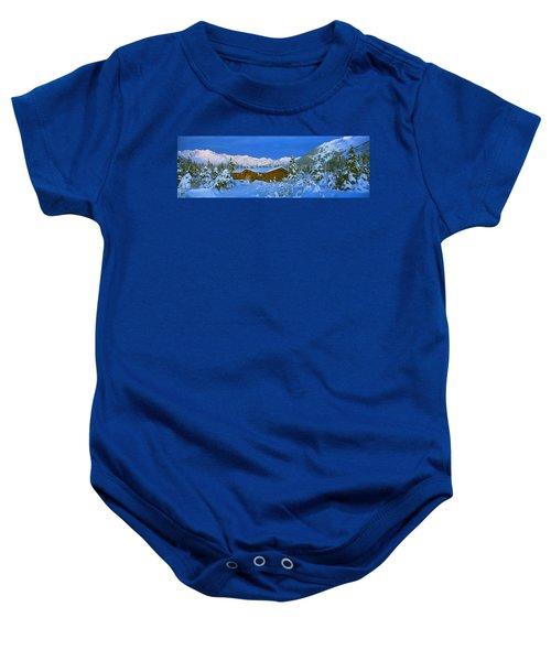 Cabin Mount Alyeska, Alaska, Usa Baby Onesie