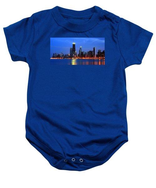 Chicago Dusk Skyline Hancock Baby Onesie